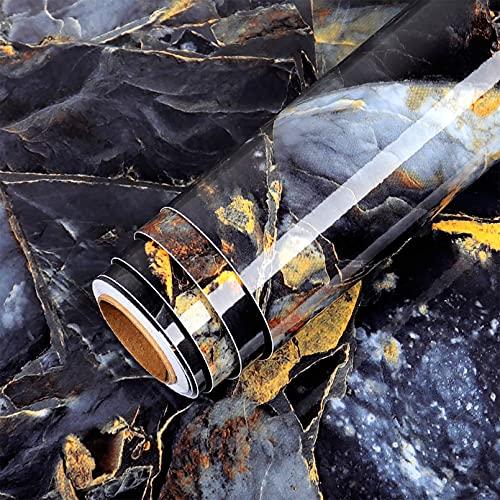 Lsooyys Papel pintado de mármol, papel de contacto, autoadhesivo, resistente al agua, brillante, para encimera, vinilo, para decoración de cuarto de baño, cocina, 15,7 x 157,4 cm