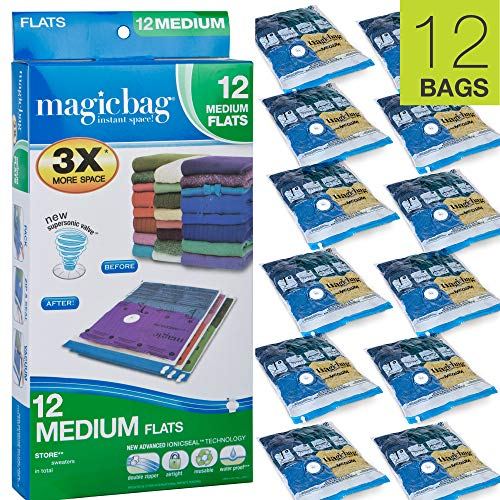Smart Design MagicBag Instant Space Saver Storage - Flat Medium - Airtight Double Zipper - for Clothing, Pillows, More - Home Organization - 3 Bags (Pack of 4) [12 Bags Total]