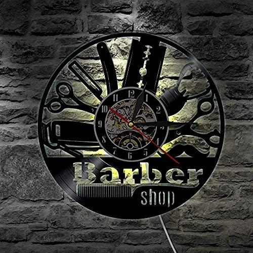 7 Color LED Luz Vinilo Record Reloj de Pared Barber Logo Wall Barber Shop Decoración de Pared Salón Peluquería Peluquería Peluquería Peluquería Peluquería