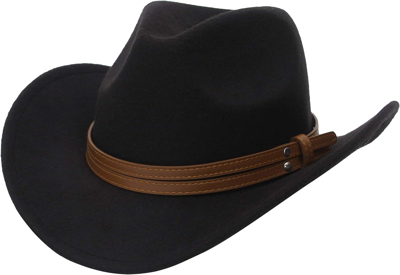 EOZY Womens Belt Buckle Cowboy hat Wide Brim Fedora Hat