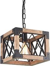 Anmytek Adjustable Wood Metal Chandelier Cube Iron Net Frame Pendant Lighting for Kitchen Island Rustic Industrial Edison Hanging Light Dining Room Vintage Ceiling Light Fixture 1-Light (P0031)