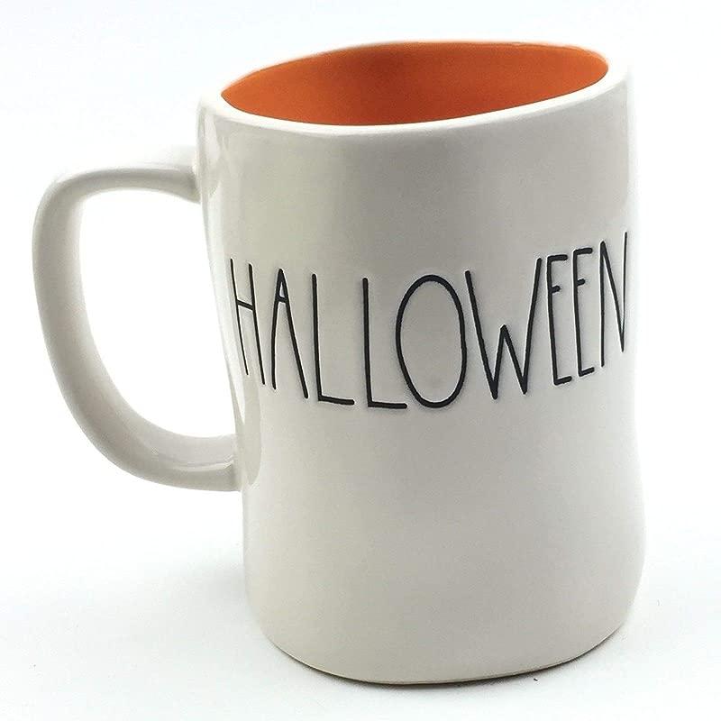 Rae Dunn Magenta HAPPY HALLOWEEN Mug Coffee Tea Orange Interior Cup