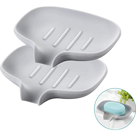 White GESMA Soap Dish with Drain and Soap Saver Lift for Shower Keep Bars Soap Case Container Clean Dry 4 Pack Silicone Soap Holder with Draining Tray for Bathroom Kitchen Sink