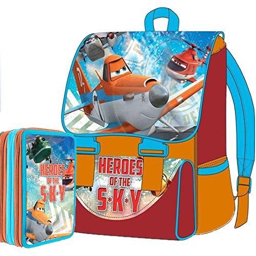 Disney Planes Dusty Schul-Set Promo-Paket Rucksack erweiterbar + Federmäppchen mit 3 Reißverschlüssen, Edition 2015-2016