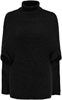 Women Casual Knit Poncho Cape Pullover Batwing Sleeve Turtleneck Top Sweater