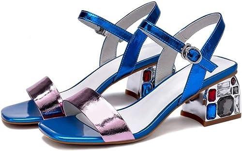 Sandales en Cuir Europe et Les états-Unis Sandales à la Mode de la Boucle a augHommesté Chaussures à Talons hauts-bleu-38