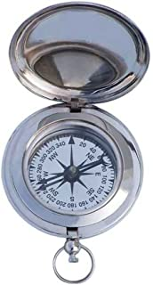 Hampton Nautical  Captain's Push Button Marine Compass Theme,  3,  Chrome