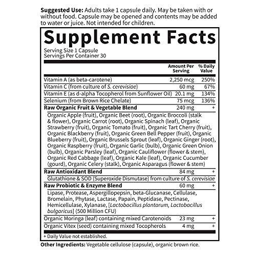 Garden of Life Antioxidant - Suplemento vitamínico de alimentos integrales crudos con código de vitaminas con mezcla de probióticos y enzimas, vegano, 30 cápsulas * El empaque puede variar *