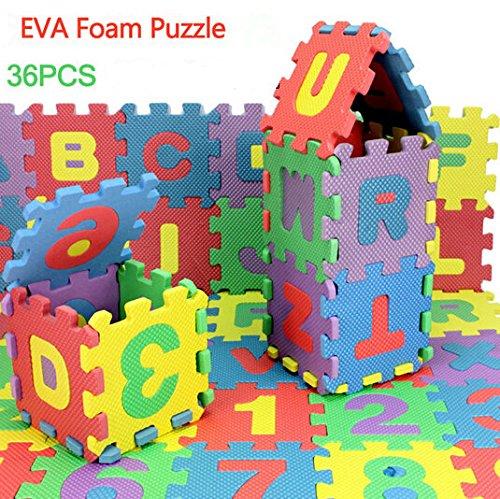Bazaar 72pcs gosses de bébé Mini-jamais Tapis de Nombre de Lettres d'alphabet de Mousse 3èmes Puzzles Jouets éducatifs