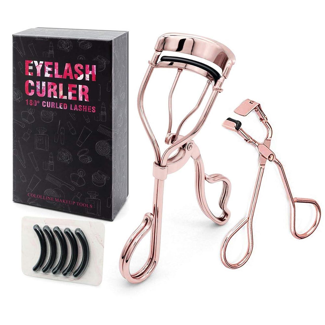貫通する機関車袋Cololline アイラッシュカーラー ビューラー 睫毛 高級感/高品質/ステンレス製、替えゴム5個付き