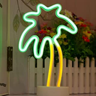 Decorative Palm Tree Neon Signs Green LED Coconut Neon Light Sign Wall Decor with Holder Table Lamps for Baby Girl Gifts Bedroom Christmas Party Supplies(Palm Tree with Holde) r