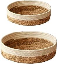 Valink Taca rattanowa ręcznie tkany kosz wielofunkcyjny okrągły słomkowy kosz do przechowywania o dużej pojemności organiz...