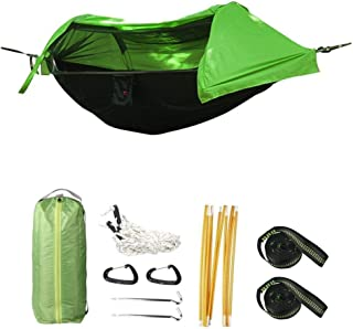 Camping Hammock with Mosquito Net and Rainfly Cover, Lightweight Portable Hammock for Outdoor Backpacking Hiking Travel (Green)