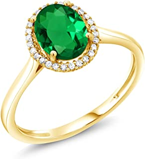 1.00 Ct Oval Green Simulated Emerald 10K Yellow Gold Diamond Ring (Available 5,6,7,8,9)