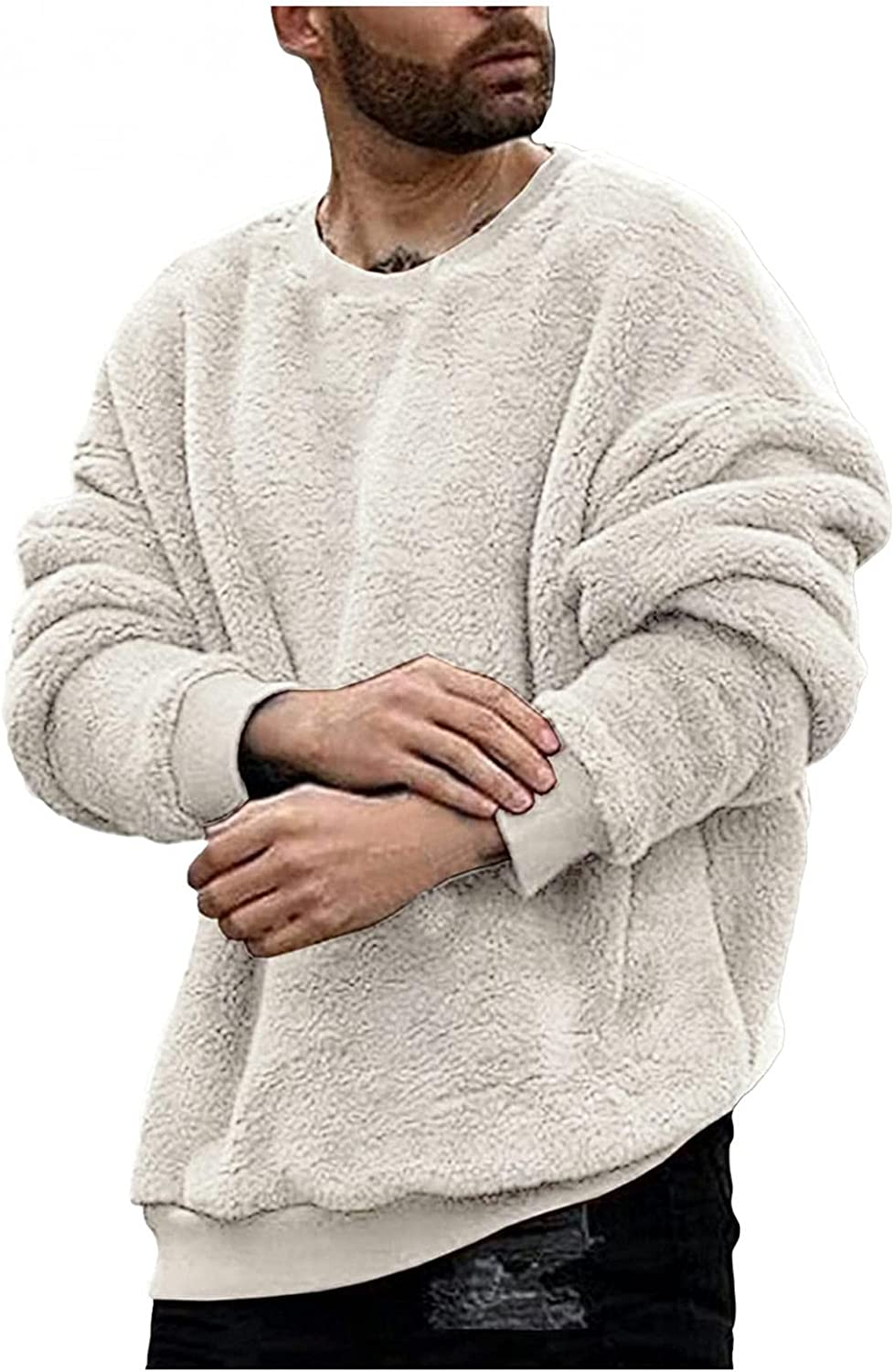 Mens Hoodies Pullover Men Fuzzy Pullover O Neck Sweatshirt Long Sleeve Sport Front Pocket Elegant Fall Outerwear Polyester