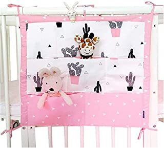 Pockets Crib Bedside Nursey Organizer Bag  Multi-Function Cotton Baby Bed Hanging Diaper Storage Caddy Pink
