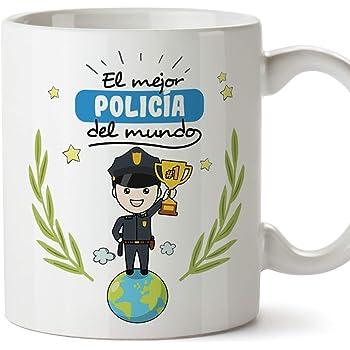 MUGFFINS Policía Tazas Originales de café y Desayuno para Regalar a Trabajadores Profesionales - El Mejor Policía del Mundo - Cerámica 350 ml: Amazon.es: Hogar