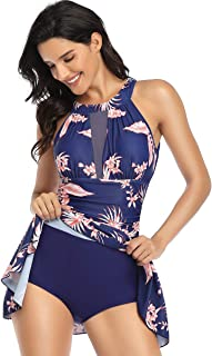 السيدات ملابس السباحة طباعة متكاملة مع ذوي الياقات العالية شبكة النسيج كشكش البطن السيطرة على ملابس السباحة
