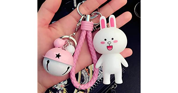 Thedmhom 1 Pcs Cute Kawaii Korean Cartoon Love Squinting Smile Cony Bunny Rose Red Bell Wrist Rope Keychain Novelty Toy Gift Fashion Funny Rabbit Ornaments Coin Purse Keyring Bag Buckle Phone Pendant