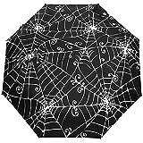 Vintage Happy Halloween Spooky Spider Web Auto Open Close Sun Rain Umbrella