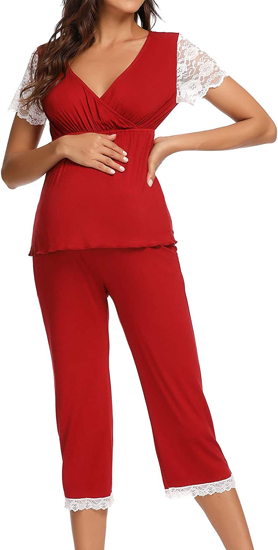 Lu's Chic Women's It is very popular Maternity Pajama Bre Max 42% OFF Pjs Nursing Pregnancy Set
