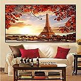 HUANGXLL Nordic Paris France Eiffels Tower Lienzo Pintura póster e Impresiones Cuadro de Arte de Pared para Sala de Estar decoración del hogar-60x120cm-sin Marco