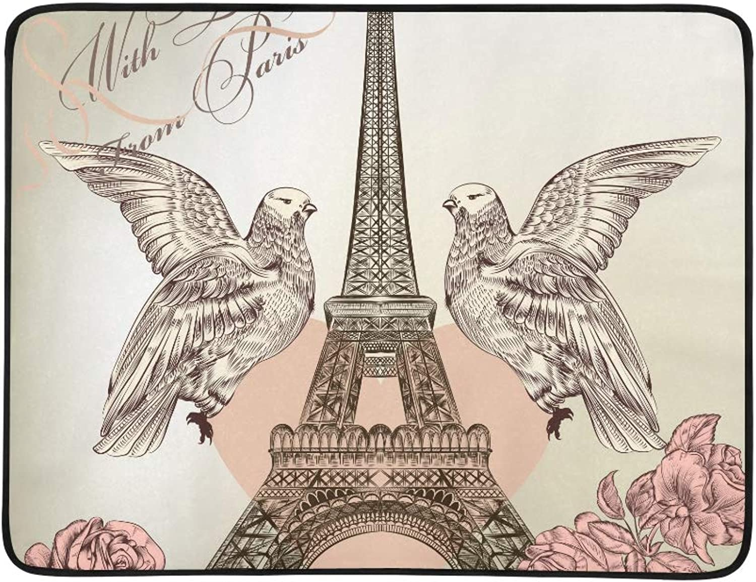 Beautiful Valentine Paris Eiffel Tower pink Birds Pattern Pattern Portable and Foldable Blanket Mat 60x78 Inch Handy Mat for Camping Picnic Beach Indoor Outdoor Travel