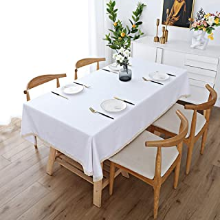 Tablecloths Rectangle Table Cloths Table Covers Cotton and Linen Solid Color for indoor or Outdoor Parties Birthdays Weddi...