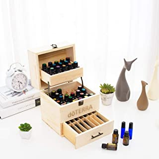 Solid Oil Essential Oil Box Pine Oil Display Rack Essential Oil Storage Box High-Grade Essential Oil Packaging Gift Box 56 to 74 Grid (Color : Beige)