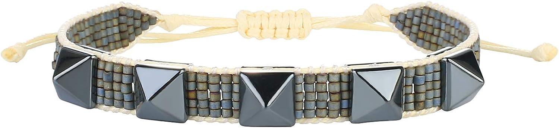 KANYEE Natural Gemstone Bracelet Miyuki Beaded Handwoven Wrap Br