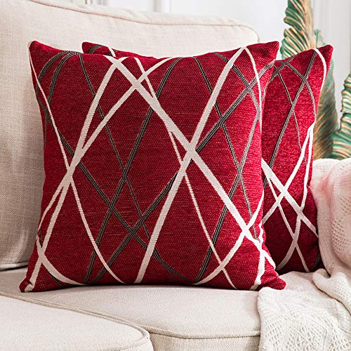 MIULEE Fundas de cojín para sofá Gamuza Sintética Almohada Caso de Diseño Geométrico Decorativas Fundas Cojines 18 x 18inch 45 x 45cm 2 Pieza Helado Rojo