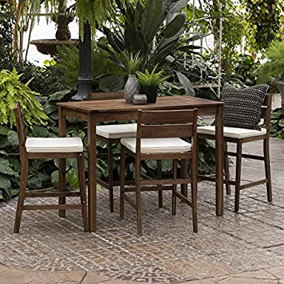 Walker Edison Catalina Contemporary 5 Piece Solid Acacia Wood Counter Height Outdoor-Dining-Table-and-Chair Set, Set of 5, Dark Brown