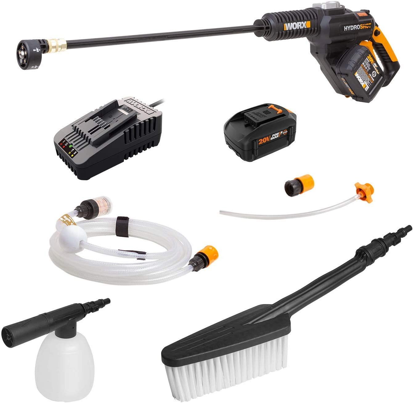 WORX WG630.2 20V Cordless Hydroshot Brushless High Flow Portable Power Cleaner with Soap Bottle & Brush, 4.0Ah Battery & Charger Included