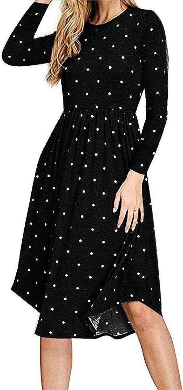 AMCLOS Women Pleated Polka Dot Dress with Pocket Swing Casual U Neck Midi Dress Long Sleeve
