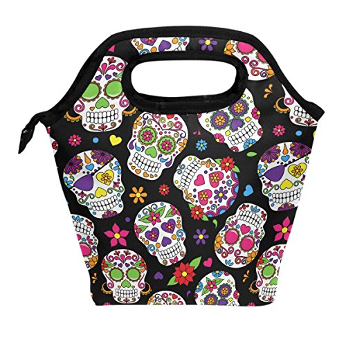 Wamika Lunch Bag Sugar Skull Flowers Rose Daisy Insulated Cooler Thermal Lunch Bag Box for Kids School Children Students Girls Boys Mexican Day Of The Dead Skull Love Heart Lunch Box Handbag Woman Man