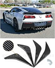 Extreme Online Store Replacement for 2014-2019 Chevrolet Corvette C7 | Z06 Track Style ABS Plastic Hydro-Dipped Carbon Fiber Rear Bumper Lower Diffuser Fins 2 Pairs
