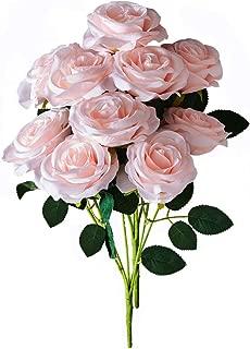 Kislohum Blush Artificial Silk Roses Faux Silk Roses 2 Bundles for Home Decor DIY Wedding Bridal Bouquets Centerpieces Arrangements Baby Shower Flower Decoration with 10 Heads in Total