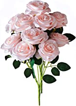 Kislohum Blush Artificial Silk Roses Faux Silk Roses 2 Bundles for Home Decor DIY Wedding Bridal Bouquets Centerpieces Arrangements Baby Shower Flower Decoration with 10 Heads in Total