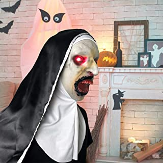 Horror Scary Full Head Mask Light Up Latex Face Shield Nun Mask Scared Female Face Wig Cosplay Costume Mask for Halloween Theme Party Cosplay