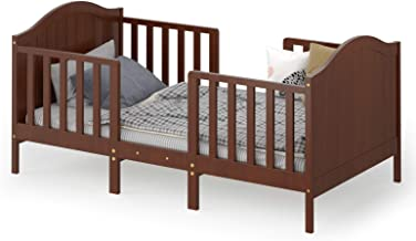 Costzon 2 in 1 Convertible Toddler Bed, Classic Wood Kids Bed w/2 Side Guardrails, Headboard, Footboard for Extra Safety, ...