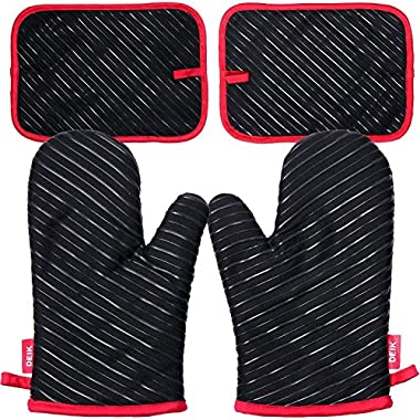 Oven Mitts and Potholders  DEIK 4-Piece Sets for Kitchen Counter Safe Mats and Advanced Heat Resistant Oven Mitt, Non-Slip Textured Grip Pot Holders, Nano- technology