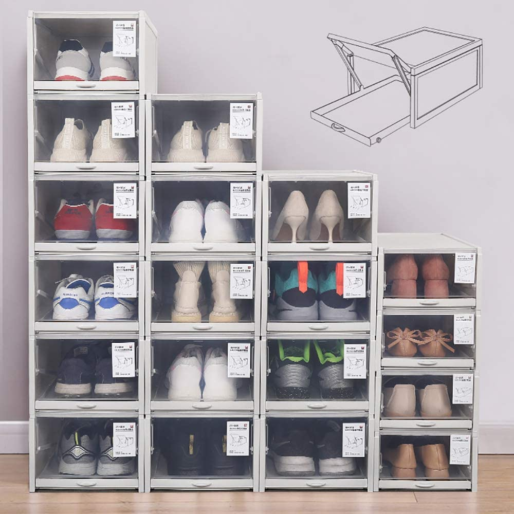 Buy Baffect Shoe Boxes Clear Plastic Stackable, Drawer Type Shoe ...
