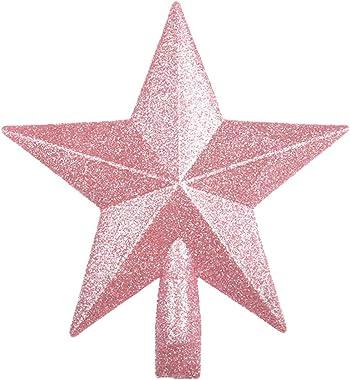 Amosfun Étoile de sapin de Noël à paillettes - 20 cm - Rose