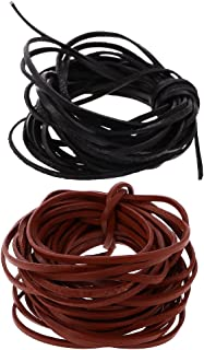 Baoblaze 2 Pieces 5 Meter Flat Leather Lace Beading Thread Vegetable-tanned Cord String Coffee and Black colors