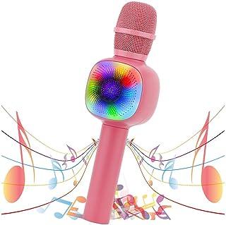 VERKB Wireless Bluetooth Karaoke Microphone, Portable Karaoke Mic Speaker with RGB Lights Party Girl Boy Toy Microphone fo...