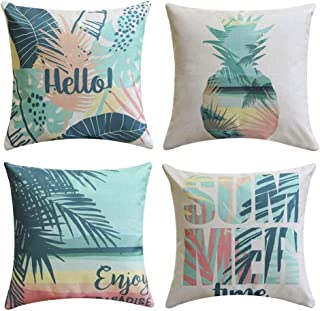 Traney Rainforest & Summer Theme Style Soft Linen Burlap Square Throw Pillow Covers, 18 x 18 Inches, Set of 4