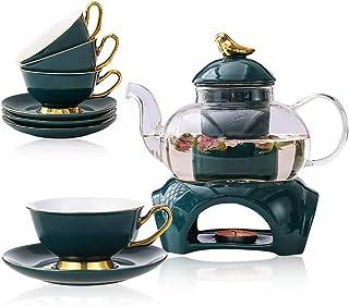 Przezroczysty szklany czajniczek zestaw do herbaty ze zdejmowanym zaparzaczem, zawiera 4 ceramiczne kubki do herbaty i spo...