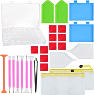 obmwang Diamond Painting Tools and Accessories Kit, DIY Cross Stitch Painting Accessories with 28 Slots Diamond Storage Box, Apply to Full Drill/Partial Drill 5D Diamond Painting (27pcs)