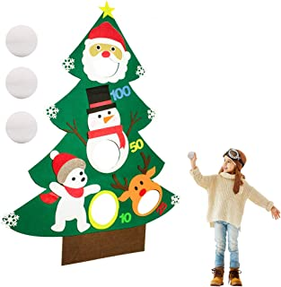 Verkstar 3.75ft Felt Christmas Tree Decor for Christmas Games Toss Games Kids Party Games Holiday Outdoor Indoor Patio Birthday Game for Kids Xmas Gift