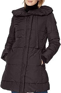 Lark & Ro Women's Coat Solid Deep Black US XL Puffer Pillow Collar